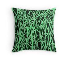 Abstract Green & Black Lines Pattern Throw Pillow