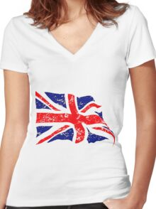 Union Jack 2 Women's Fitted V-Neck T-Shirt