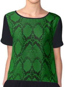 Neon Green and Black Snake Skin Reptile Scales Chiffon Top