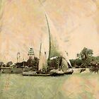 A digital painting of a Nile Sailing Boat, Cairo, Egypt 1934 by Dennis Melling