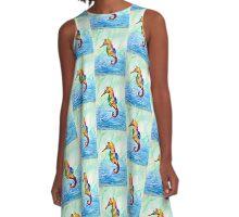 Pretty, Pretty Seahorse; Whimsical, Sea-life, Underwater, Ocean; Beach A-Line Dress