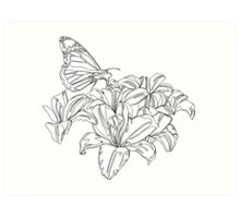 Butterflies and Flowers Continuous Line Drawing Art Print