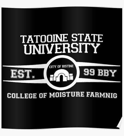 Tatooine State University (Star Wars) White Poster
