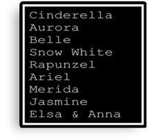 Disney Princess List Canvas Print