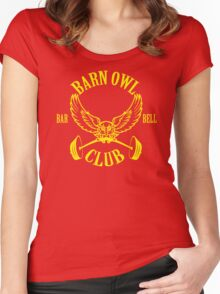 Barn Owl Barbell Club Yellow Women's Fitted Scoop T-Shirt