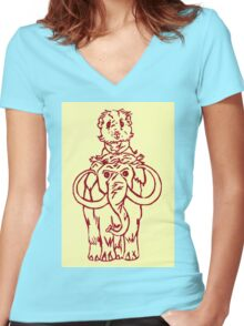 Pammy on a Mammoth Women's Fitted V-Neck T-Shirt