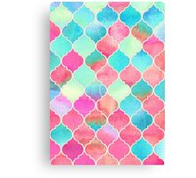 Watercolor Moroccan Patchwork in Magenta, Peach & Aqua Canvas Print