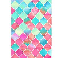 Watercolor Moroccan Patchwork in Magenta, Peach & Aqua Photographic Print