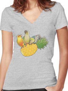 Green Cheek Paradise Women's Fitted V-Neck T-Shirt