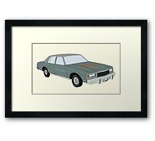 Hand Drawn Vintage Chevy Caprice 1980s Sedan Framed Print