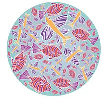 Template with cartoon fishes Photographic Print