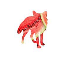 Fox, Watercolour Flowers Photographic Print
