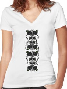 Nouveau kitty pattern Women's Fitted V-Neck T-Shirt