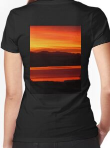 *Magenta Scarlet Red Sun Up* Women's Fitted V-Neck T-Shirt