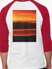 *Magenta Scarlet Red Sun Up* Men's Baseball ¾ T-Shirt