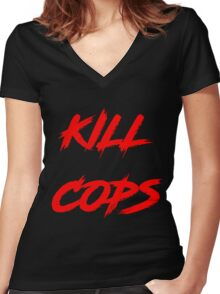 Kill Cops (red) Women's Fitted V-Neck T-Shirt