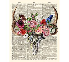 Skull & Flowers on Vintage Dictionary Page Photographic Print