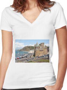 Aberystwyth, Wales, United Kingdom Women's Fitted V-Neck T-Shirt