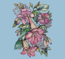 Red Trumpet Vine flowers on blue Kids Tee
