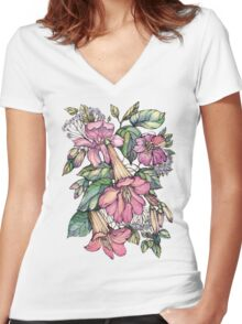 Red Trumpet Vine flowers on blue Women's Fitted V-Neck T-Shirt