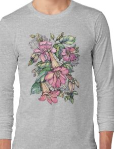 Red Trumpet Vine flowers on blue Long Sleeve T-Shirt