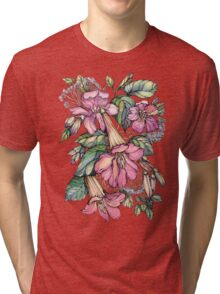 Red Trumpet Vine flowers on blue Tri-blend T-Shirt