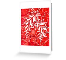 Miniature Aussie Tangle 020 in Xmas Red and White Greeting Card