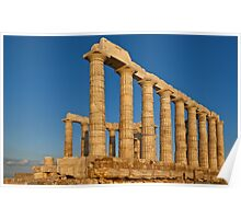 Temple of Poseidon at sunset, Cape Sounio Poster