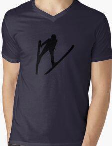 Ski jumper jumping Mens V-Neck T-Shirt