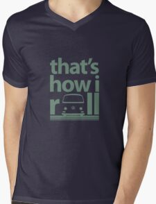 How I Roll Early Bay Mid Green Mens V-Neck T-Shirt