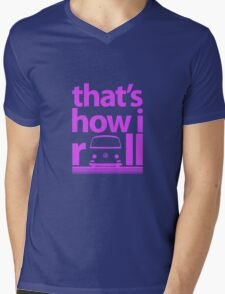 How I Roll Early Bay Magenta Mens V-Neck T-Shirt