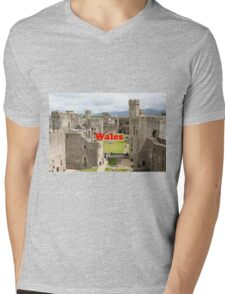 Wales: Caernarfon Castle, United Kingdom Mens V-Neck T-Shirt