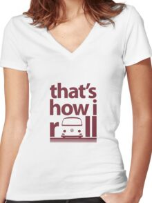 How I Roll Early Bay Dark Red Women's Fitted V-Neck T-Shirt