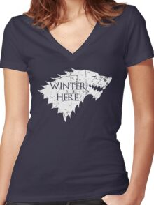 Winter is Here. (White) Women's Fitted V-Neck T-Shirt