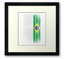 Brazilian American Flag - Half Brazilian Half American Framed Print
