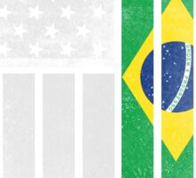Brazilian American Flag - Half Brazilian Half American Sticker
