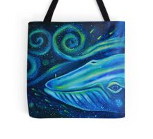Big blue whale into the space of Universe with silhouette of man. Tote Bag