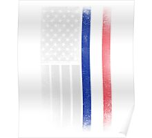 French American Flag - Half French Half American Poster