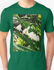 Snowdrops in a Green Winter Unisex T-Shirt