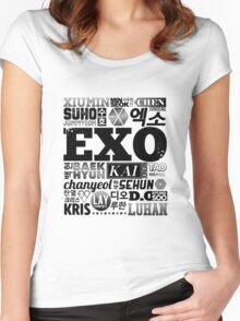 EXO Font Collage Women's Fitted Scoop T-Shirt
