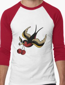 Old School Cherry Swallow Sailor Tattoo Art Men's Baseball ¾ T-Shirt