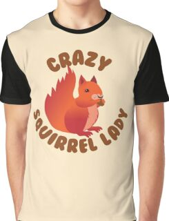 Crazy (RED) Squirrel lady in a circle Graphic T-Shirt