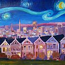 Starry Night With Painted Ladies San Francisco With Van Gogh Inspirations by artshop77