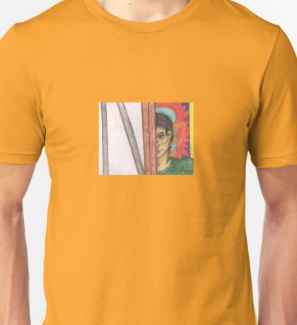 Angry Man Peering around Easel Unisex T-Shirt
