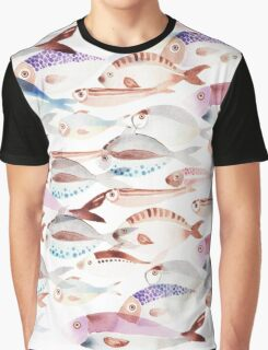 Patterns Everyday_ fish_white Graphic T-Shirt