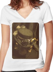 Steampunk Ladies Hat 1.0 Women's Fitted V-Neck T-Shirt