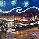 Sternennacht über Budapest in Ungarn mit Donau und Parlament - Van Gogh inspiriert by artshop77