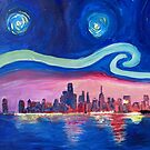 Sternennacht mit Chicago Skyline und Lake Michigan- Van Gogh inspiriert by artshop77