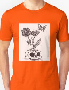 Skull flower with skull butterfly Unisex T-Shirt