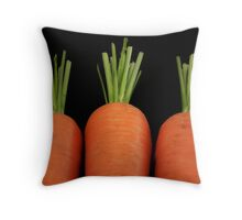 Carrots all in a row Throw Pillow